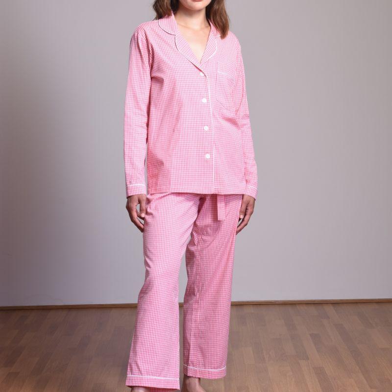 Long Women'S Pyjama Set Pink Gingham image