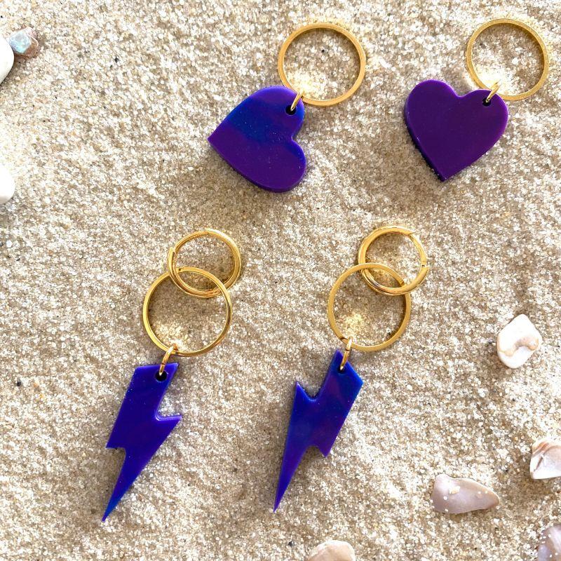 Huggie Earrings Charm Set, Lightning Bolts & Hearts in Ultraviolet & Gold image