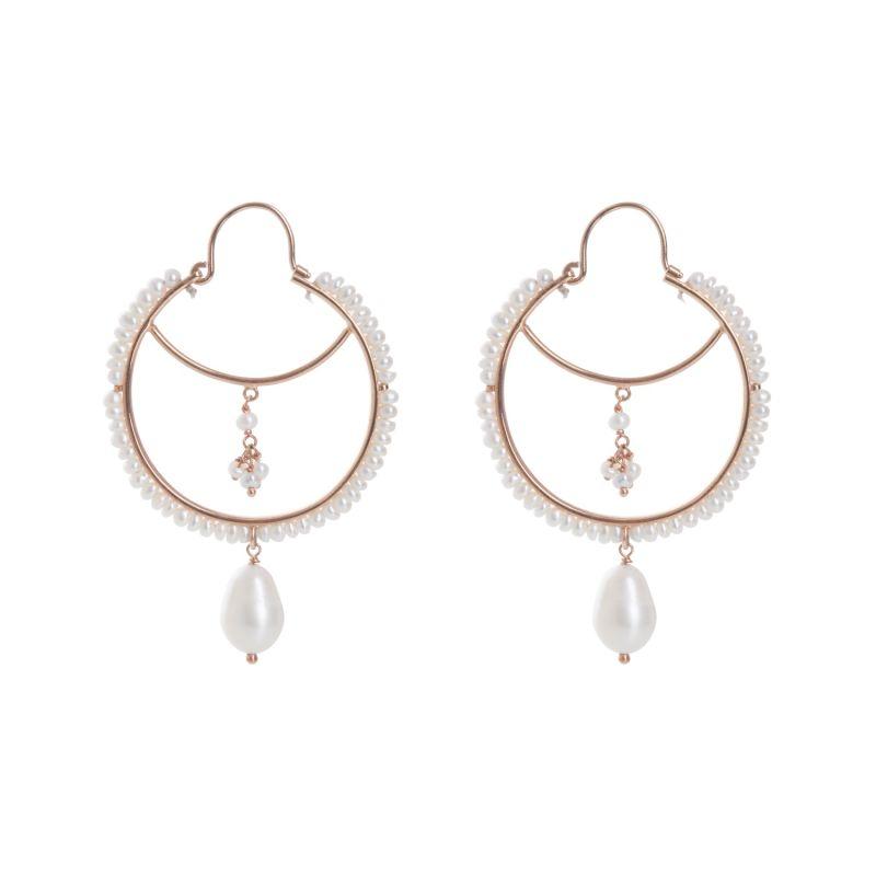Pearly Drop Hoop Earrings image
