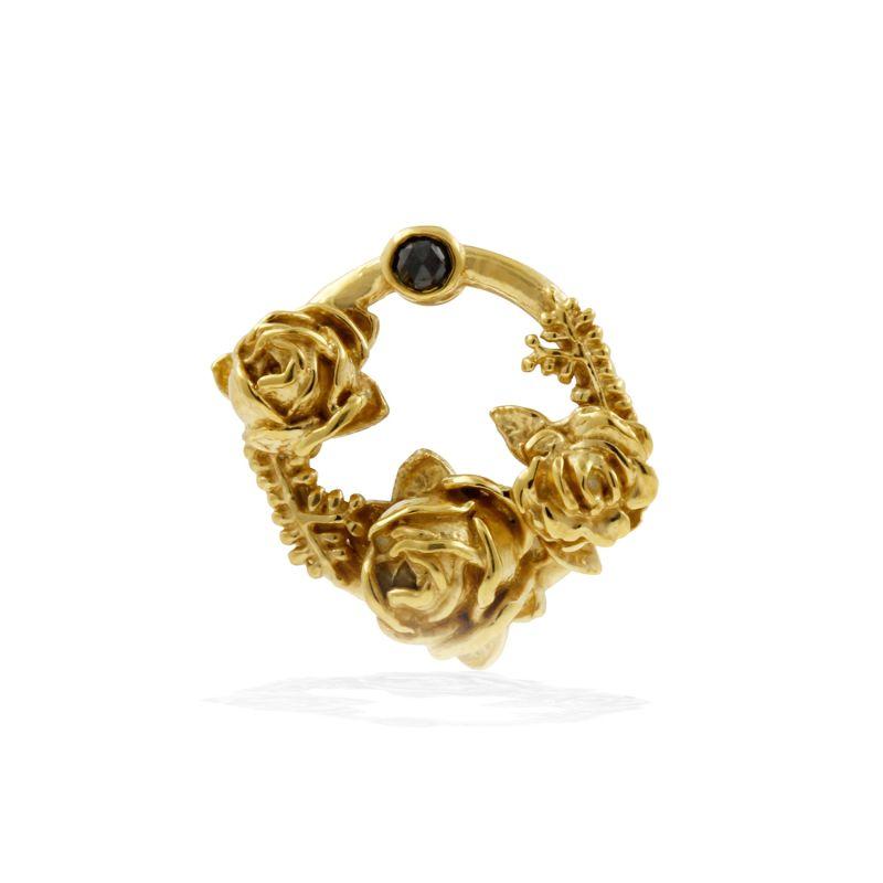Black Diamond Rose Halo Lapel Pin Gold image