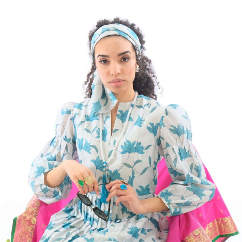 Blue Flora Print Midi Dress With Pleats, Puff Sleeves & Matching Scarf image