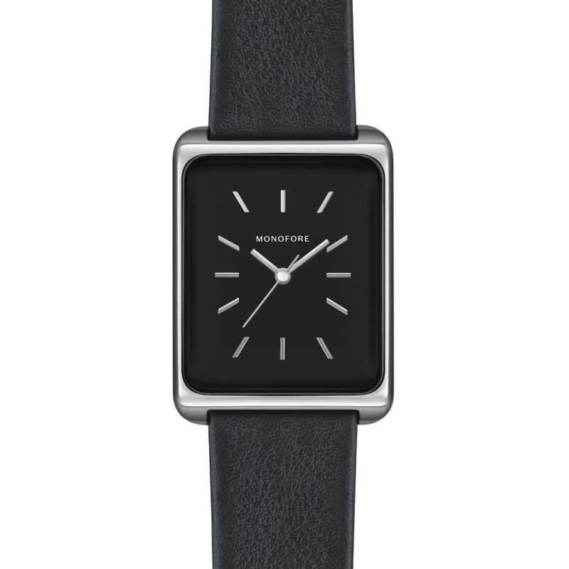 Monofore M01 Silver Black 38mm - Black Leather image