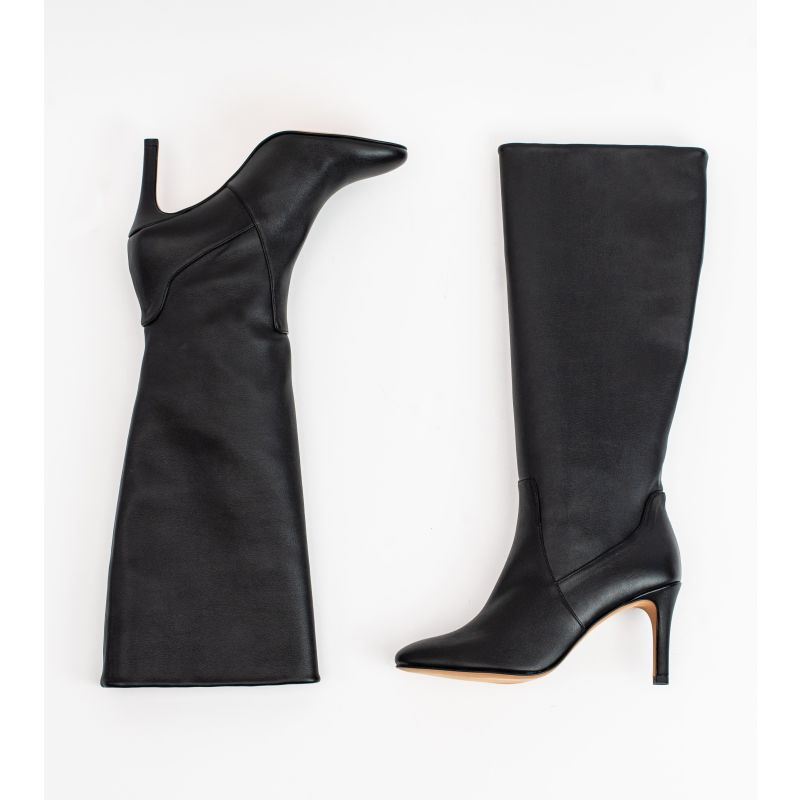 Chloe Black Vegan Leather Heeled Long Boot image