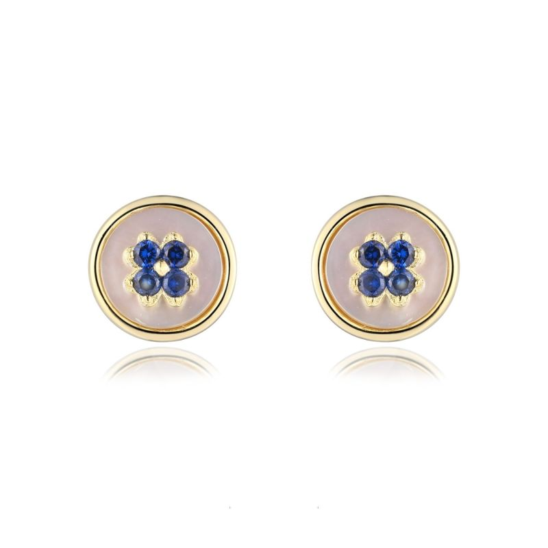 Swish Mother Of Pearl Earrings With Blue Zirconia image