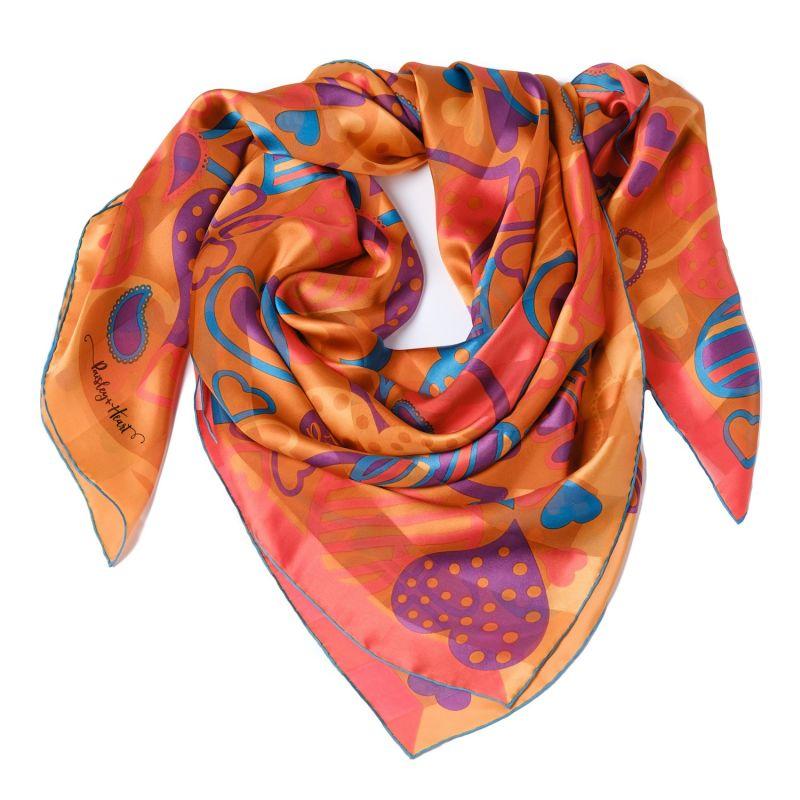 Silk Chiffon Large Square Scarf - Romantic Orange image