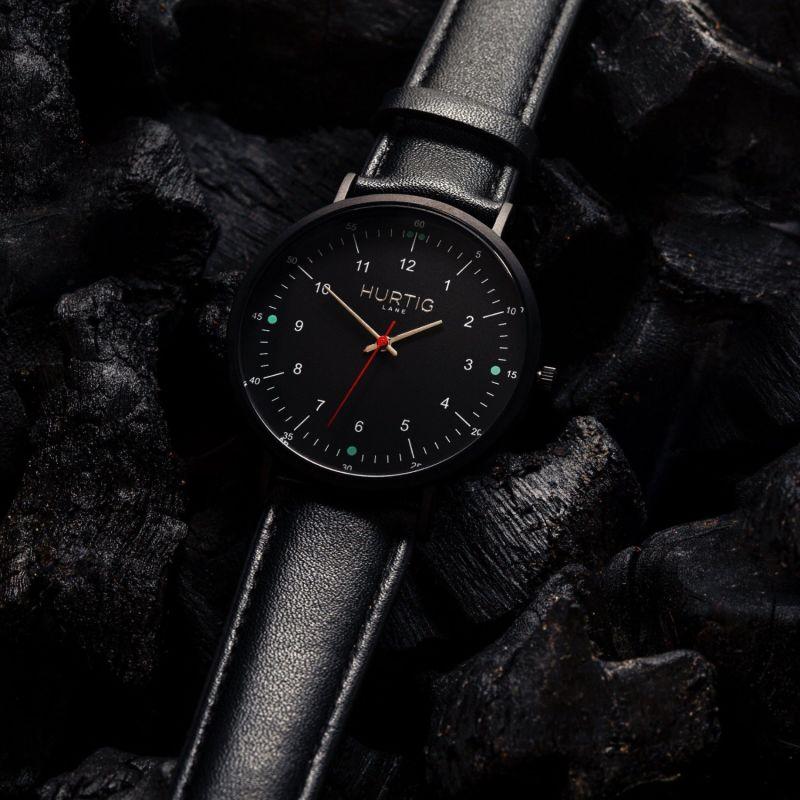 Moderna Vegan Leather Watch All Black & Black image