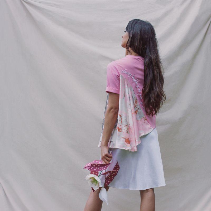 Silk Flare Tshirt Pink image