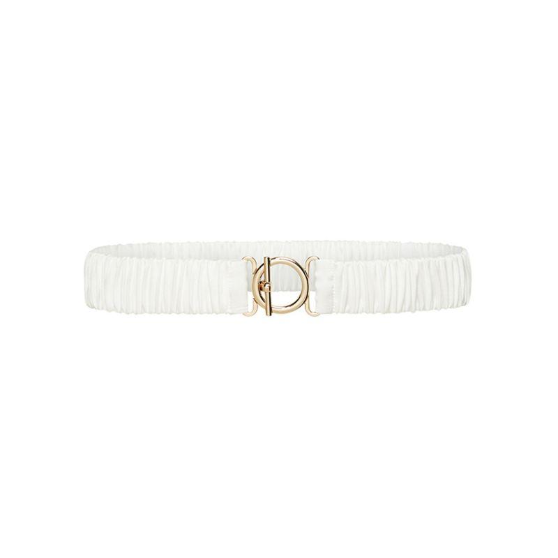 T Bar Clasp Silk Belt - White image