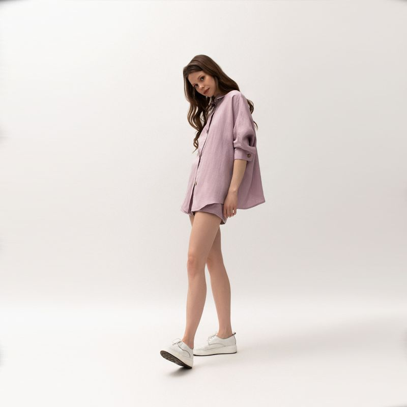 Linen Blend Shirt Women In Lavender Colour image
