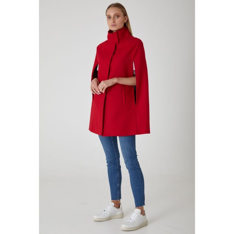 Wool Cashmere Single Breasted Cape - Poppy image