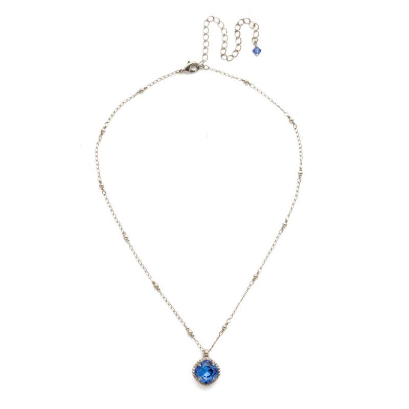Cushion-Cut Solitaire Necklace - Antique Silver Sapphire image