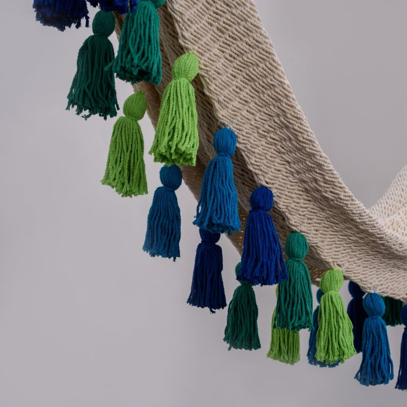 Deluxe Natural Cotton Hammock with Rainforest Inspired Tassels image