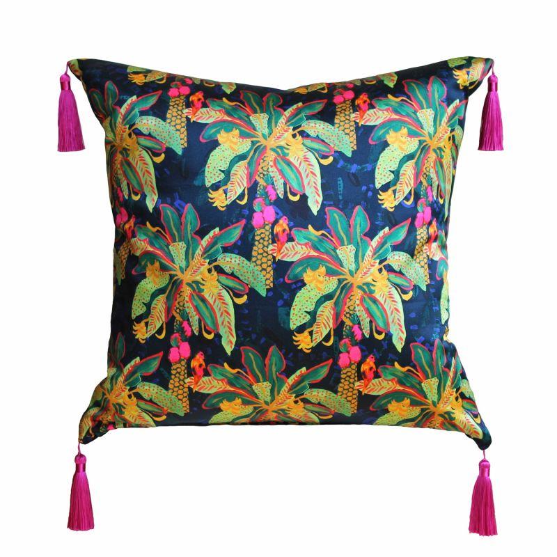 Green & Navy Palm Silk Cushion image