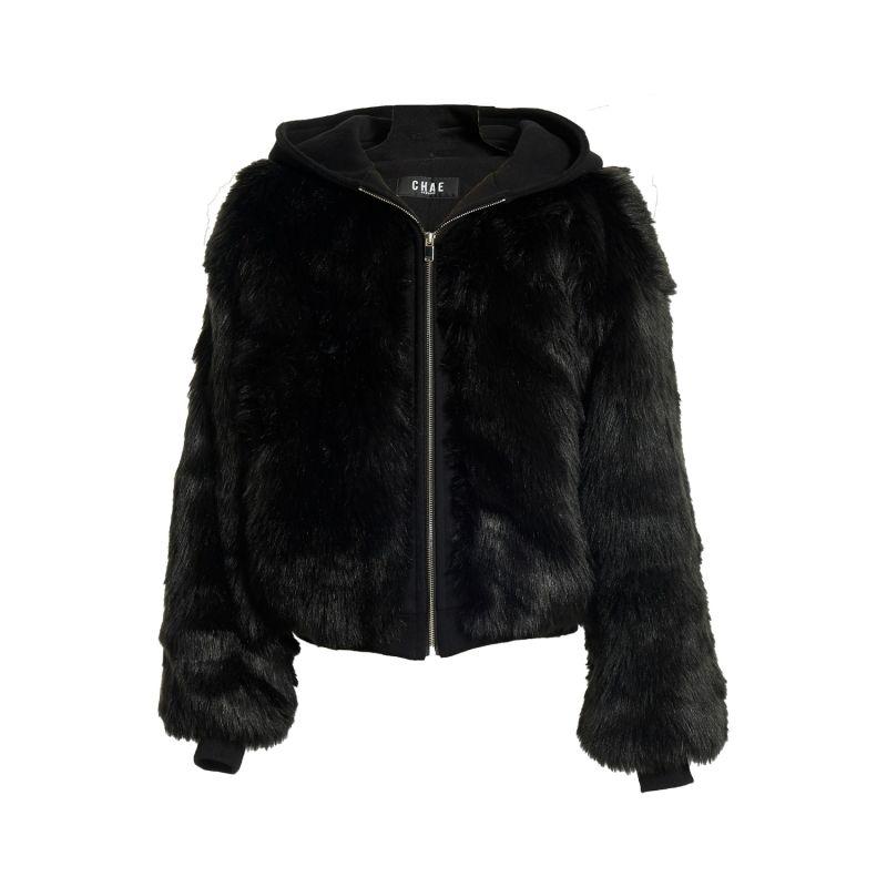 Puffy Duffy Zip-Up Faux Fur Hoodie Bomber Black image