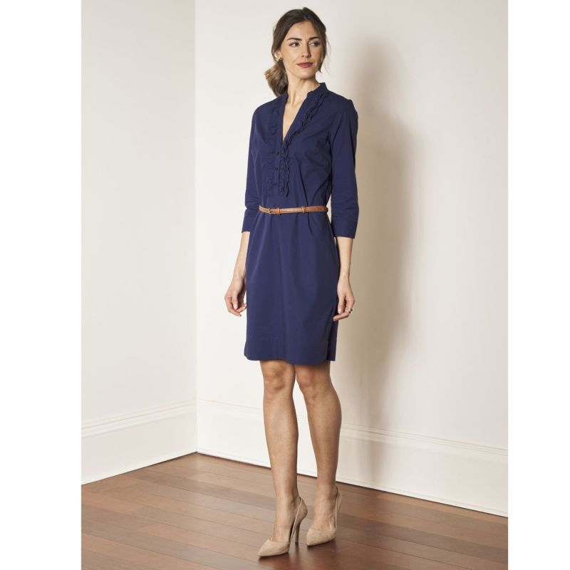 Cleverly Tailored Ruffle Collar Fitted Shirtdress Navy Blue Stretch Cotton - Eliza image