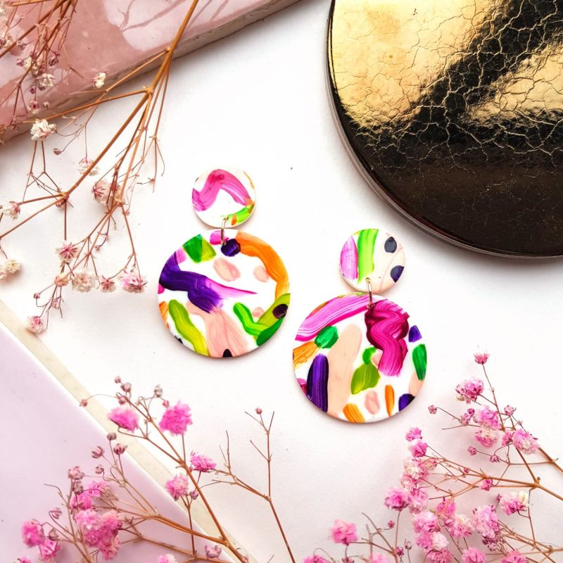 Bright Colourful Abstract Art Painted Lightweight Clay Earrings - Drops image