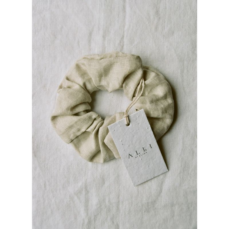 Linen Hair Scrunchies – Ecru image