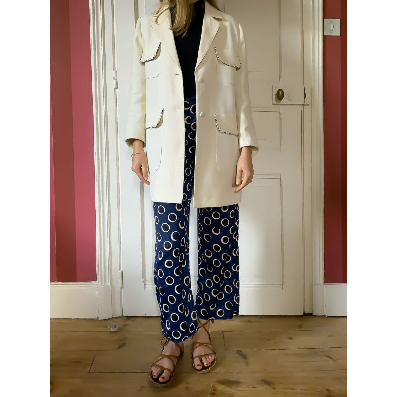 The Alba Off-White Raw Linen Coat With Cording Detail image