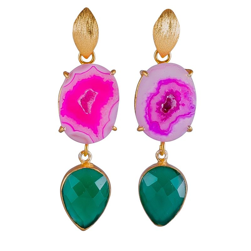 Pink & Green Colour Drops Earrings image