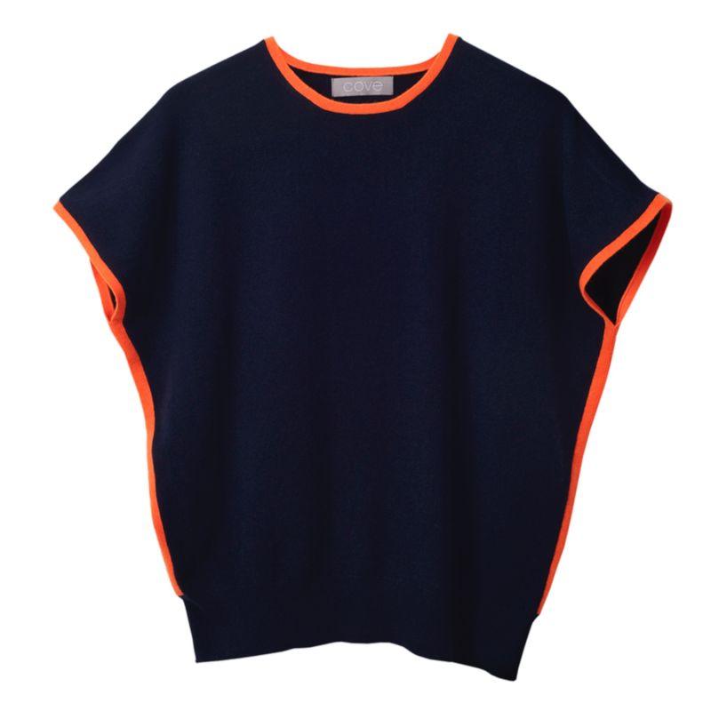 Eva Navy & Orange Cashmere Jumper image