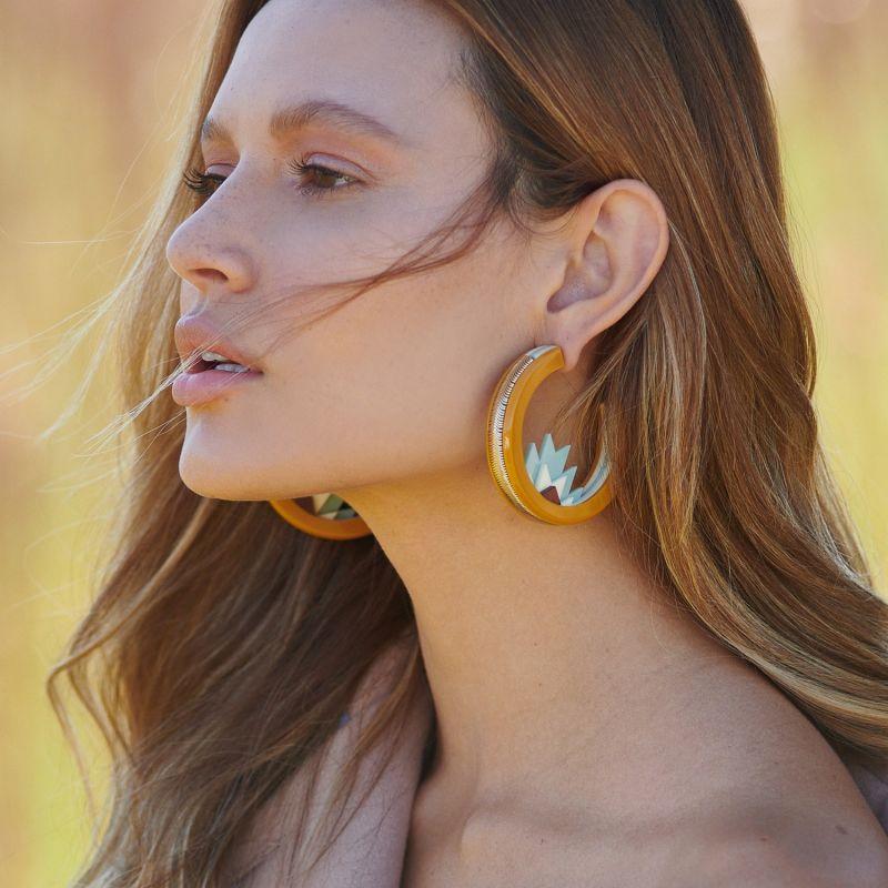 Handmade Acrylic Earring Hoops Kuntur & Turquoise Green image