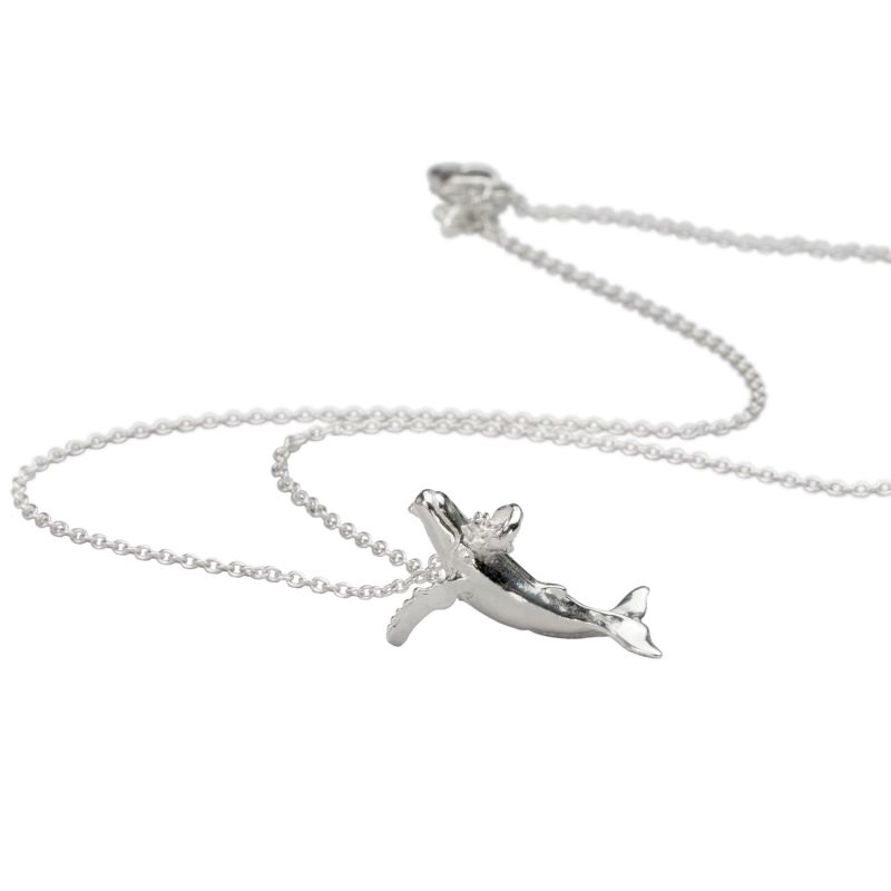Koholā Humpback Whale Necklace - Sterling Silver Chain image