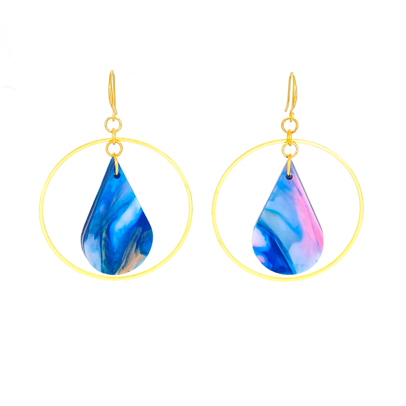 Drop Earrings in Paua Shell & Gold image