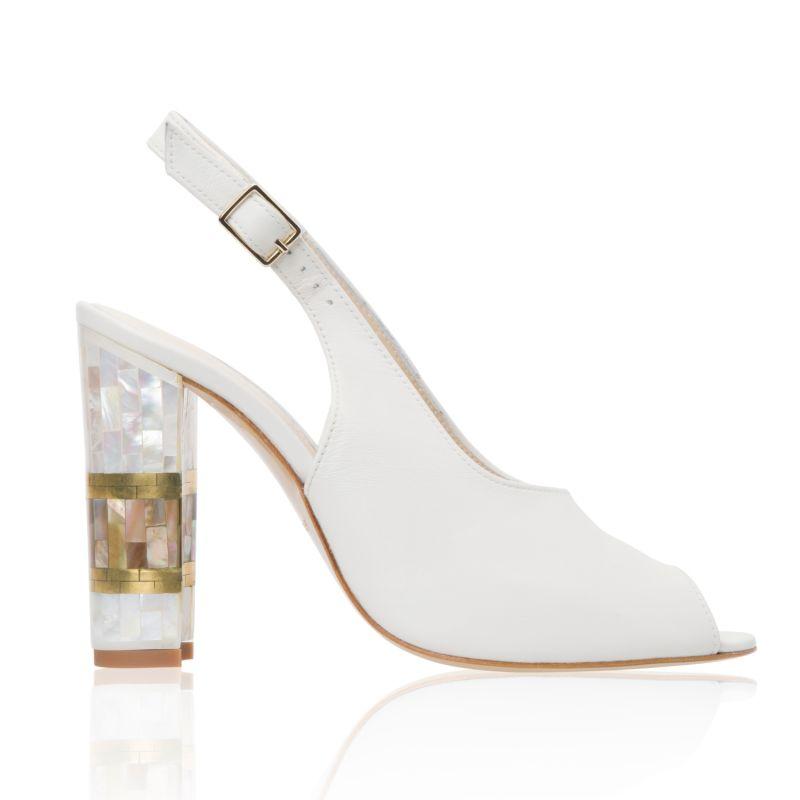 Zara White - Block Heel Slingback in Ivory Leather image