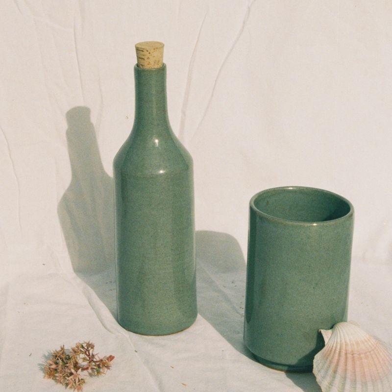 Narti Ceramic Bottle - Dove Green image