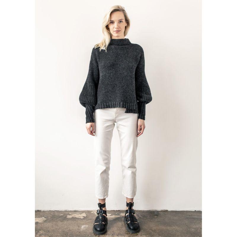 Puffo Sleeve Alpaca Blend Sweater - Black image