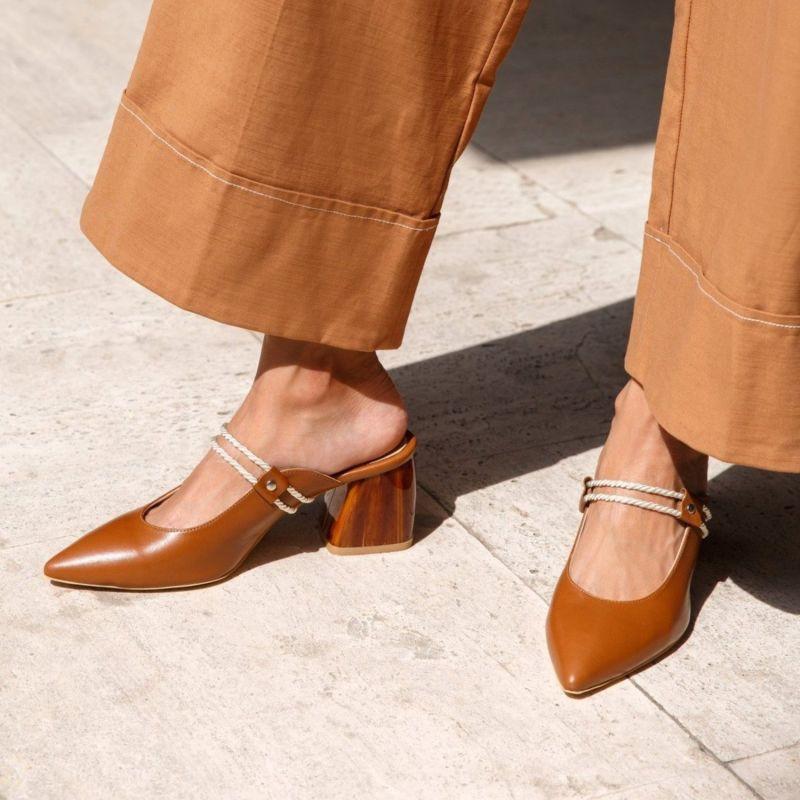 Sofana Tan Pointed Leather Heels image
