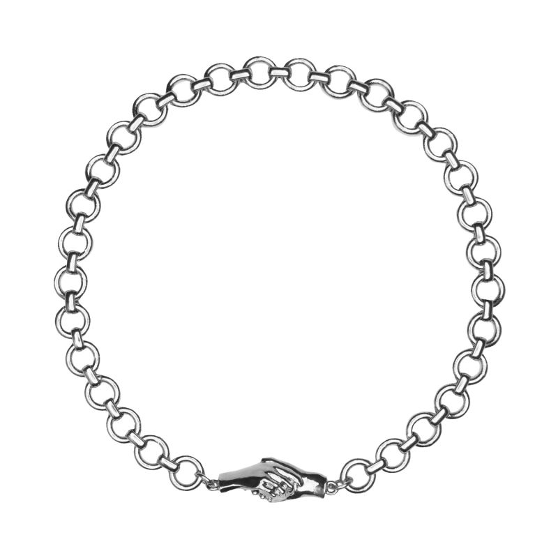 """Gentlewoman's Agreement 16"""" Choker Necklace In Silver image"""