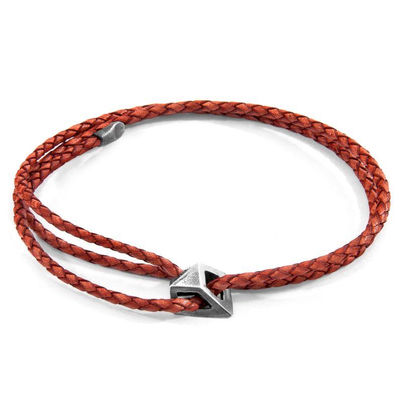 Amber Red Arthur Silver & Braided Leather Skinny Bracelet image