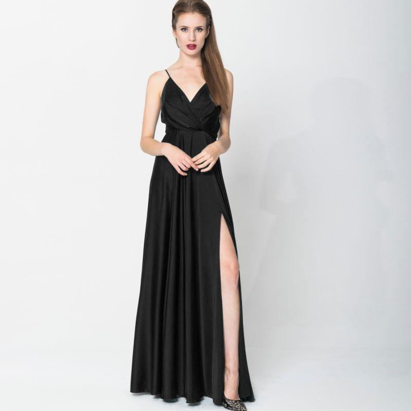 Elegant Long Satin Dress Nero image