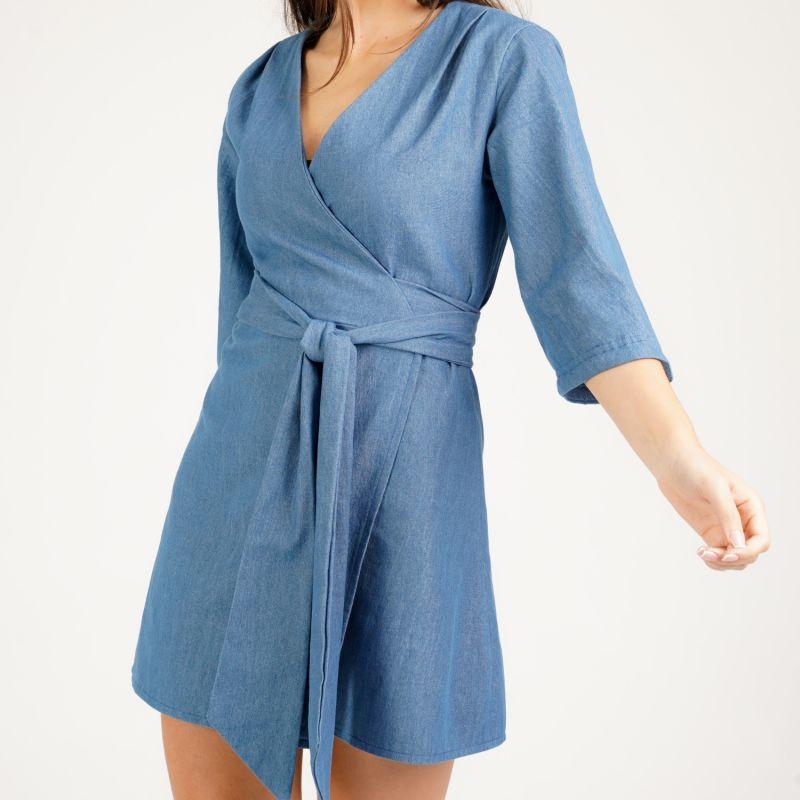 Mary H Wrap Dress Kimono In Blue Denim image