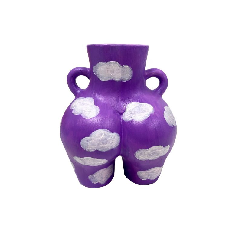 Women'S Body Hand Painted Lilac Cloud Vase image