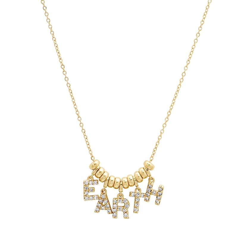 14K Gold & Diamond Dancing Earth Necklace image