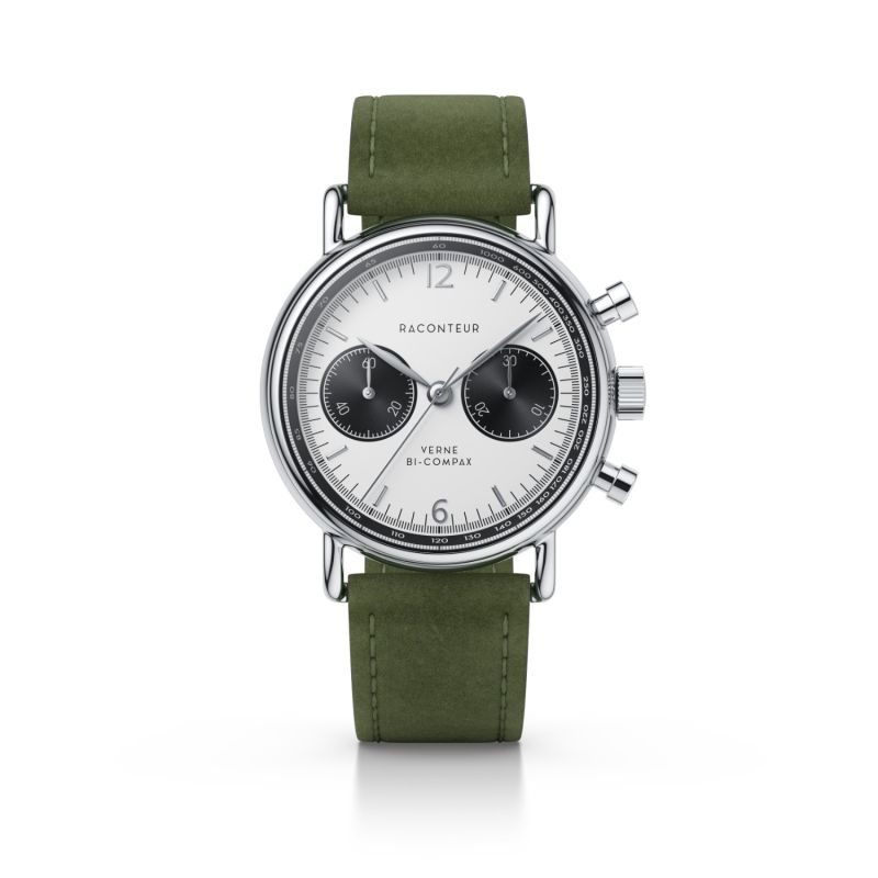 Verne Bi-Compax Silver White - Emerald Suede image