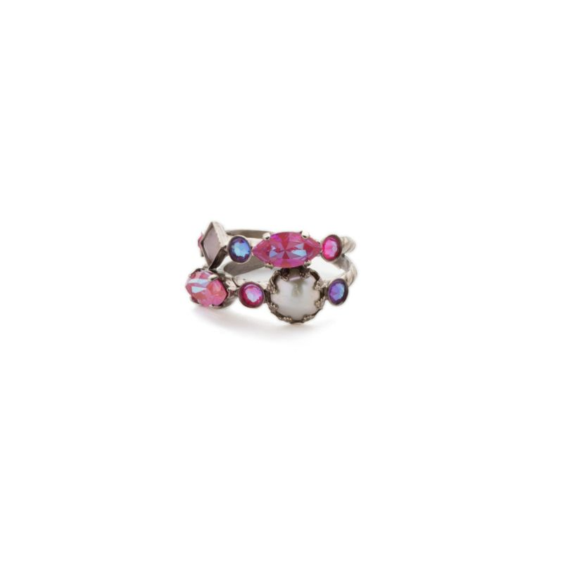 Oaklyn Stacked Ring - Antique Silver Electric Pink image