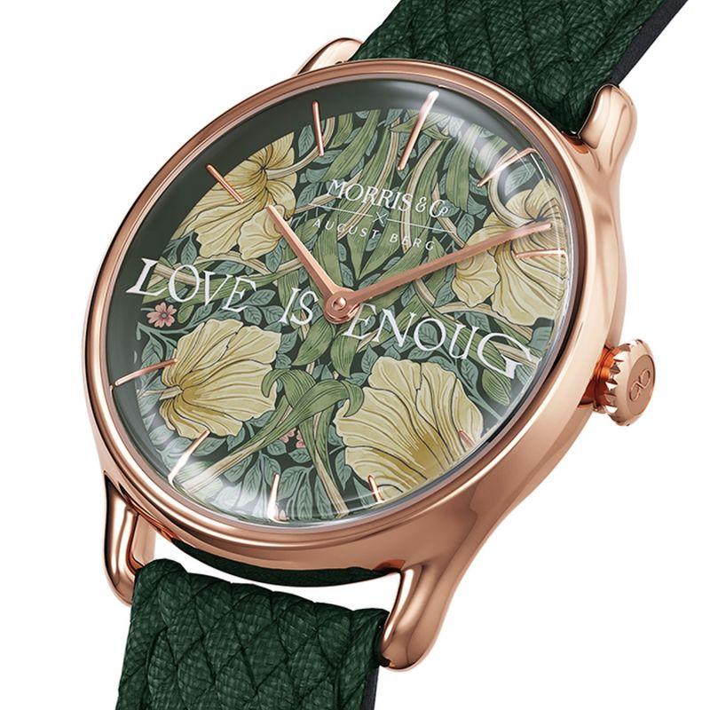 Morris & Co. Fennel Rose Gold Strawberry Thief - Green Perlon 30mm image