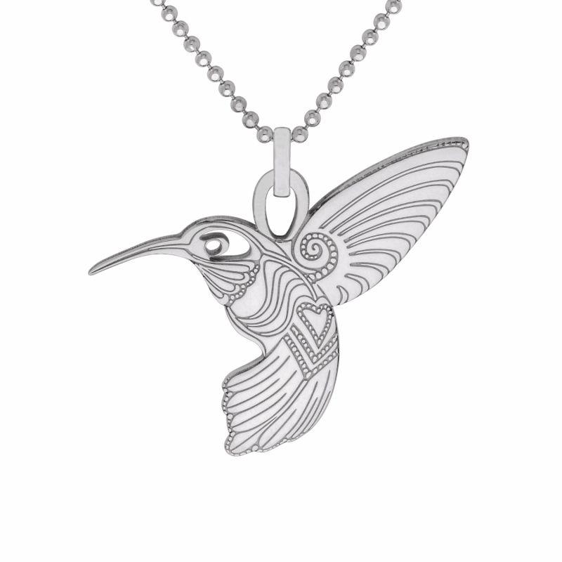 Medium Silver Humming Bird Pendant Necklace image