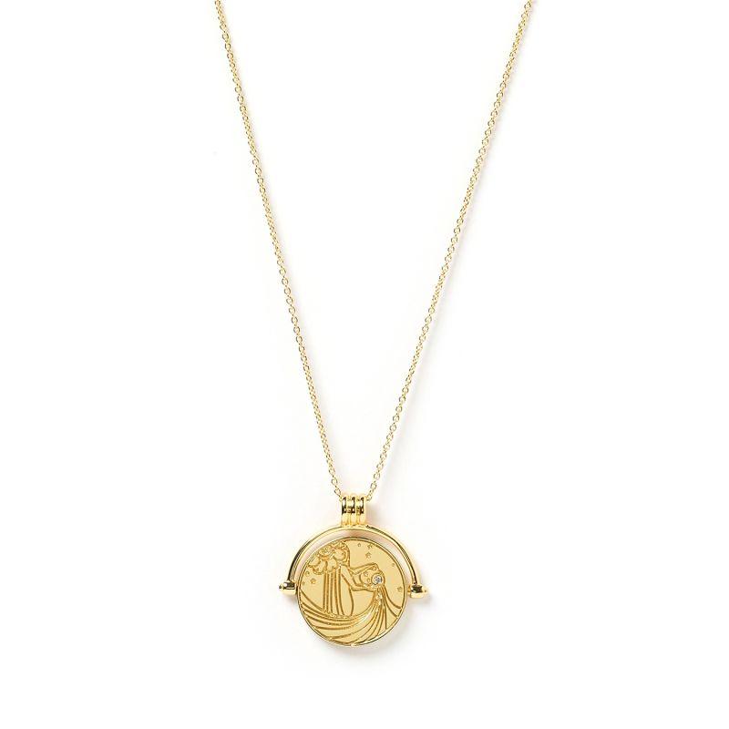 Aquarius Zodiac Gold Spinner Necklace image