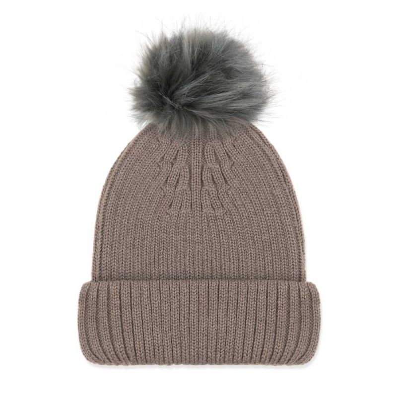 Women's Pure Merino Ribbed Beanie With Silver Grey Big Faux Fur Pompom Taupe image