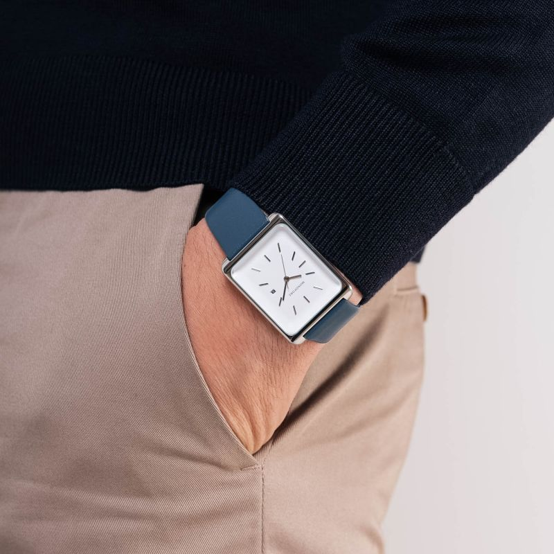 Monofore M01 Silver 41mm - Steel Blue Leather image