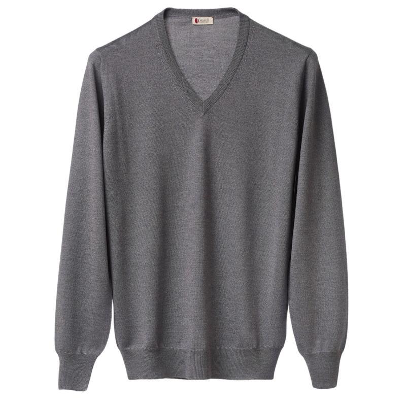 Ultralight Merino Silk and Cashmere V Neck (Grey) image