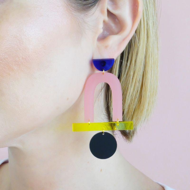 Mega Stack Blue, Pink, Yellow, Black Earrings image