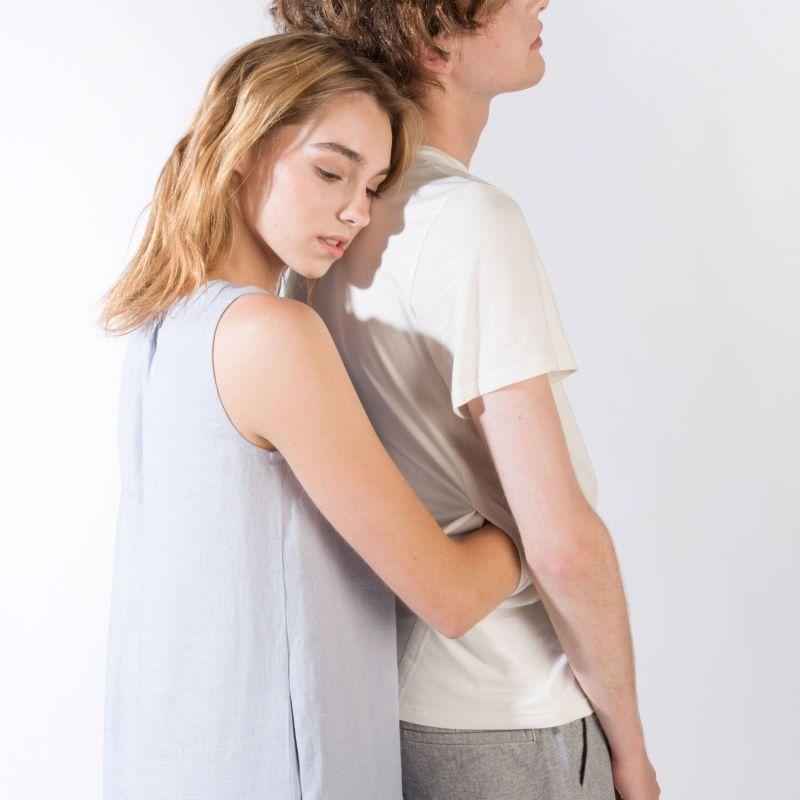 Soft Eco-Bamboo Crew Neck Short Sleeve Cooling Him T-Shirt For Hugs - White image