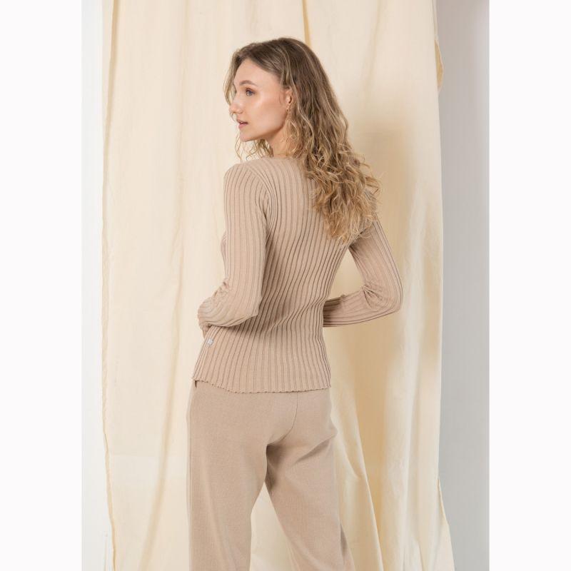 Ribbed Long Sleeve Top Beige image