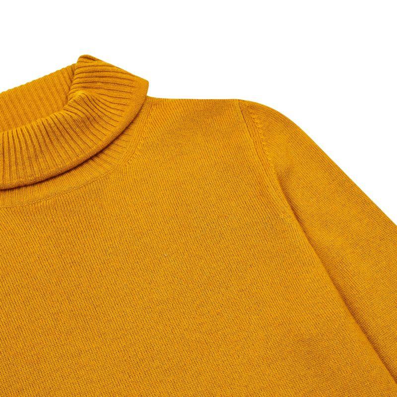Women's Roll Neck Jumper - Mustard image