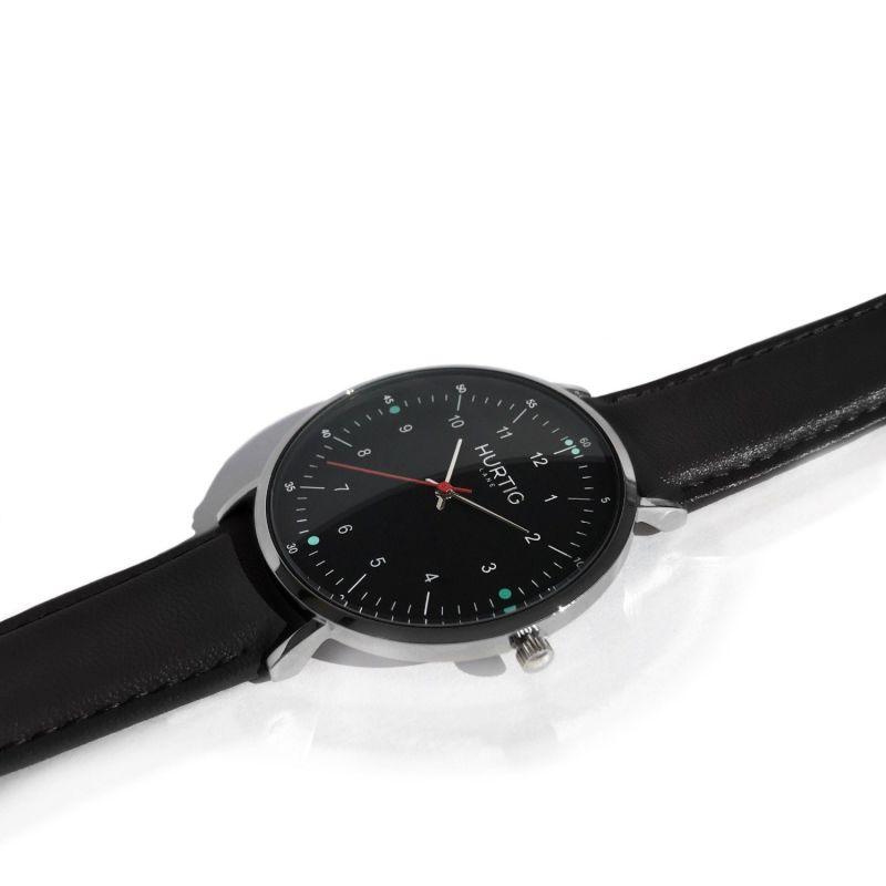 Moderno Vegan Leather Watch Silver, Black & Black image